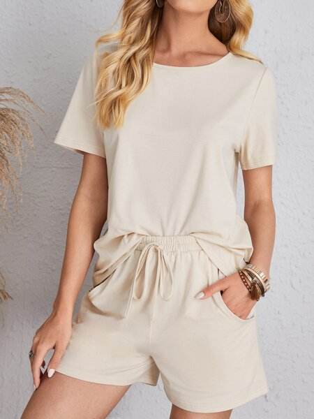 Solid Round Neck Tee & Tie Front Shorts