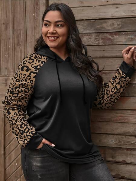 Plus Leopard Print Drawstring Hoodie