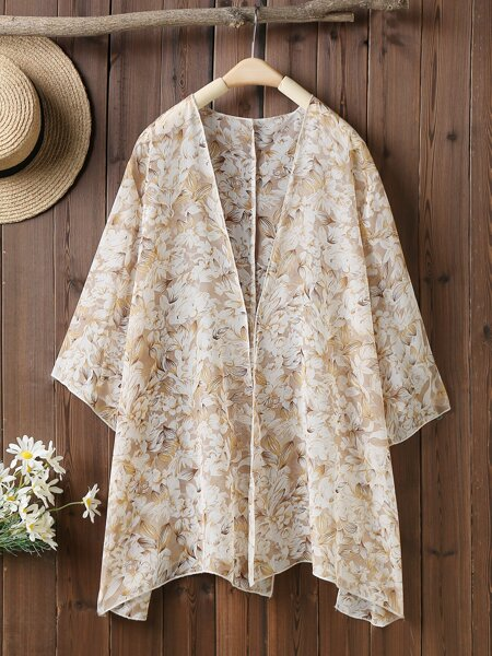 Plus Allover Floral Kimono