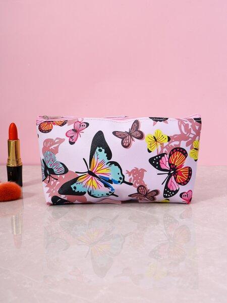 Butterfly Pattern Zipper Makeup Bag