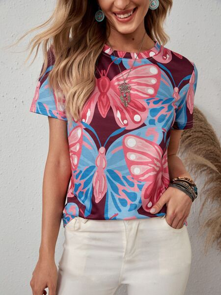 Allover Butterfly Print Tee