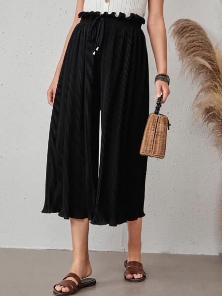 Paperbag Waist Pleated Wide Leg Pants