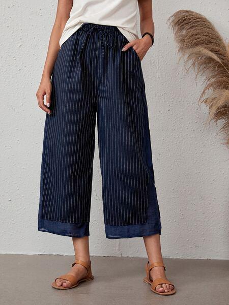 Striped Knot Crop Wide Leg Pants