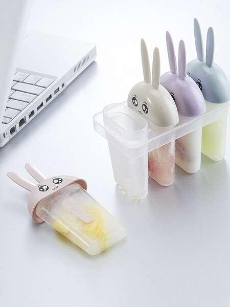 1pc 4 Grid Rabbit Print Popsicle Mold
