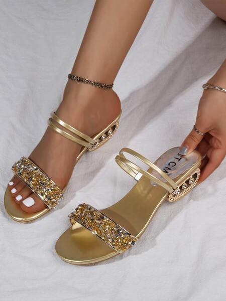 Metallic Rhinestone Decor Sandals