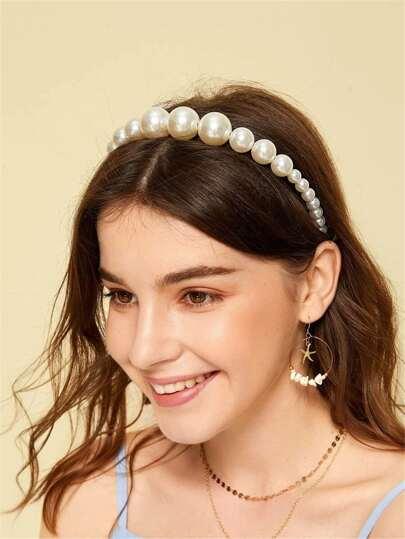 1pc Faux Pearl Hair Hoop