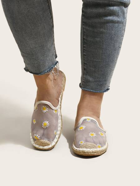 Daisy Floral Pattern Mesh Espadrille Flat Mules