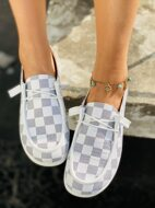 Checkered Pattern Lace-up Front Sneakers