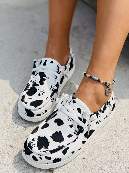 Cow Pattern Lace-up Front Sneakers