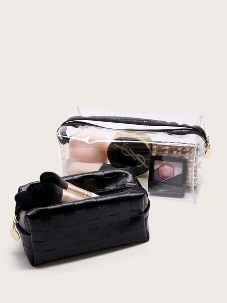 2pcs Woven Pattern Makeup Bag
