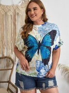 Plus Butterfly Print Batwing Sleeve Tee