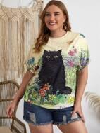 Plus Floral & Cat Print Tee