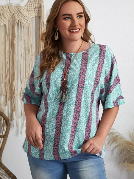 Plus Striped Ditsy Floral Tunic Blouse