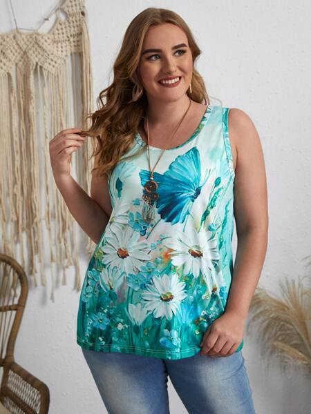 Plus Butterfly And Daisy Print Tank Top