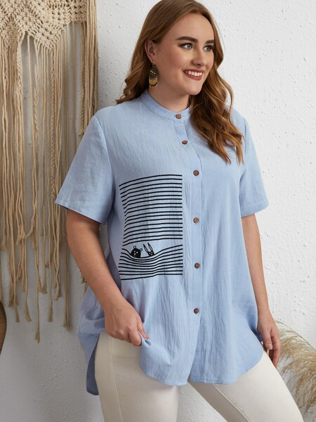 Plus Cartoon And Striped High Low Blouse