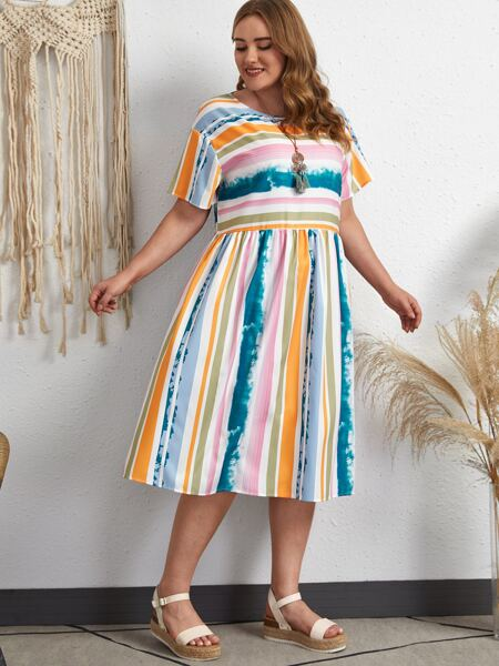 Plus Colorblock Striped Print Smock Dress