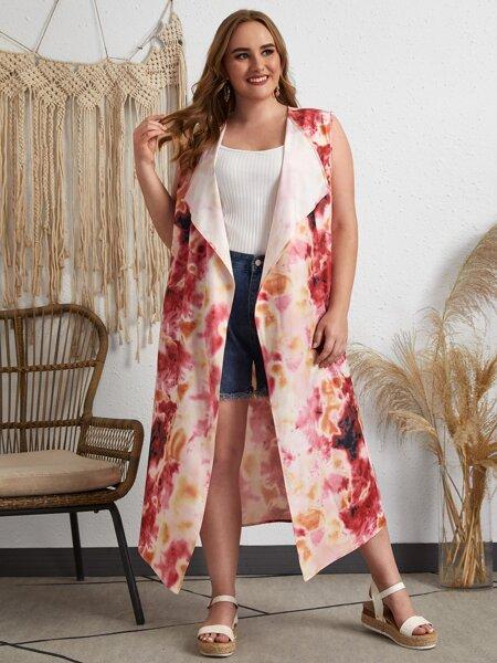 Plus Allover Print Waterfall Collar Kimono