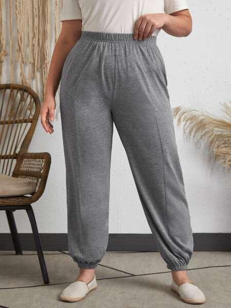 Plus Solid Elastic Waist Crop Sweatpants