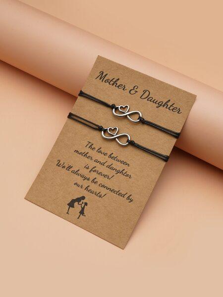 2pcs Mothers Day Heart Decor String Bracelet