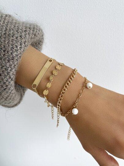 4pcs Faux Pearl Charm Chain Bracelet