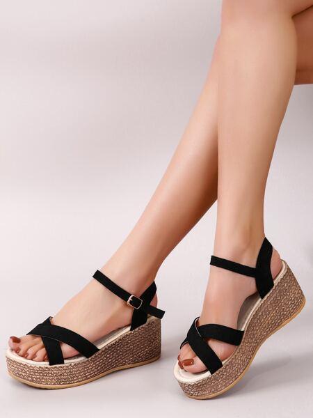 Criss Cross Suede Wedge Sandals