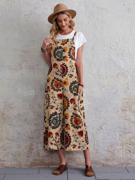 Allover Floral Overall Jumpsuit