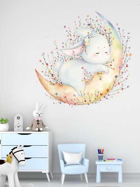 Cartoon Rabbit Print Kids Wall Sticker