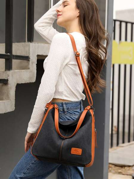 PU Splicing Shoulder Bag