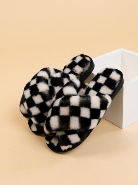 Criss Cross Fluffy Bedroom Slippers