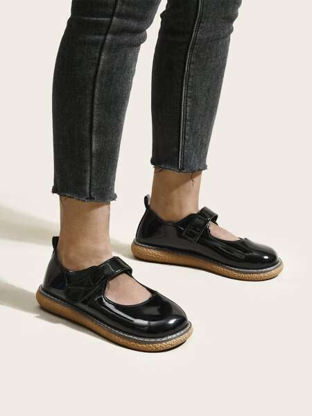 Patent Leather Velcro Strap Mary Jane Flats