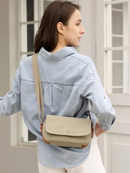 Flap Canvas Crossbody Bag