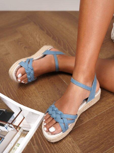 Braided Detail Espadrille Wedge Sandals
