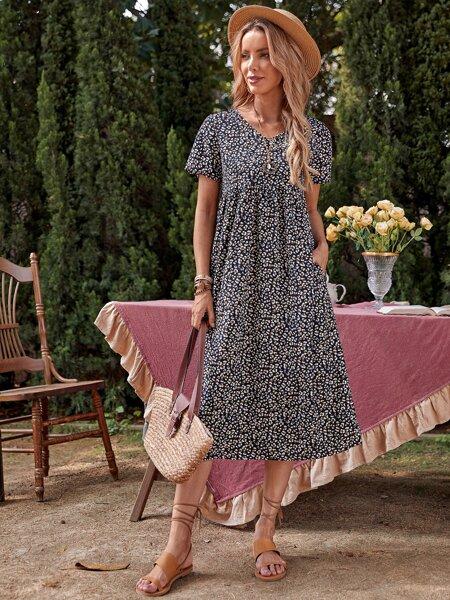 Leopard Print Smock Dress
