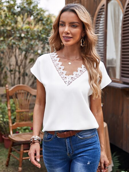 Guipure Lace Trim Solid Top