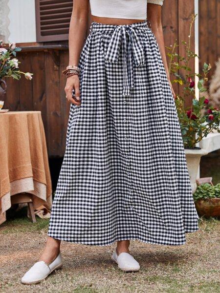 Self Belted Gingham Skirt