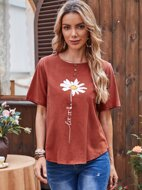 Floral & Letter Graphic Top
