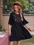 Floral Embroidered Flounce Sleeve Smock Dress