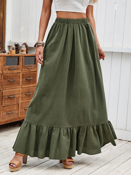 Solid Ruffle Hem Elastic Waist Skirt