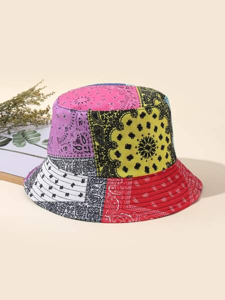Patchwork Print Bucket Hat