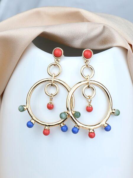 Pom Pom Ring Drop Earrings