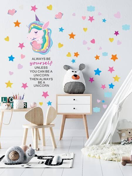 Unicorn Print Kids Wall Sticker