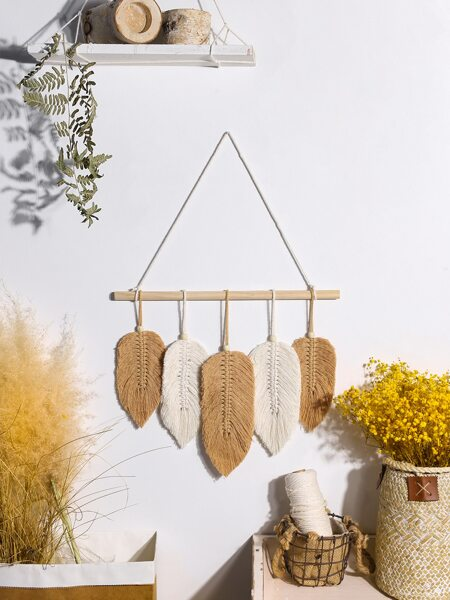 1pc Leaf Woven Wall Hanging