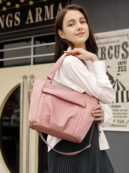 Ruched Top Handle Tote Bag