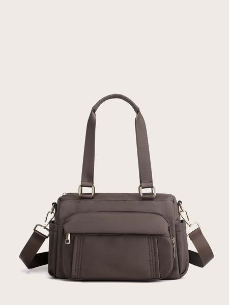 Pocket Front Top Handle Tote Bag