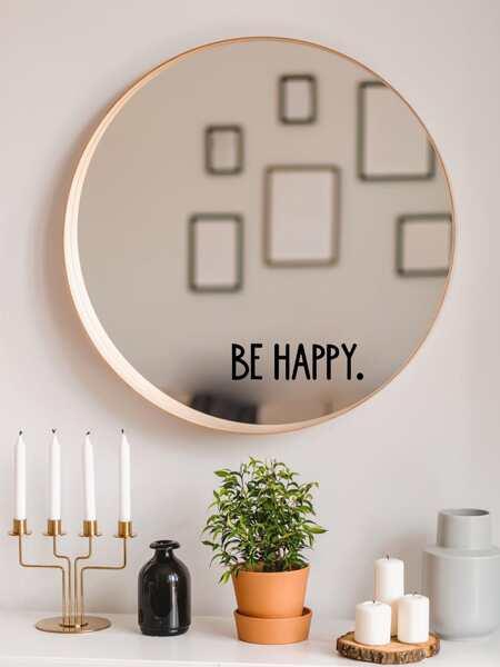 Slogan Graphic Mirror Sticker