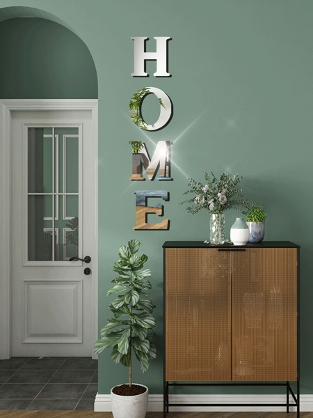 4pcs Letter Mirror Surface Wall Sticker