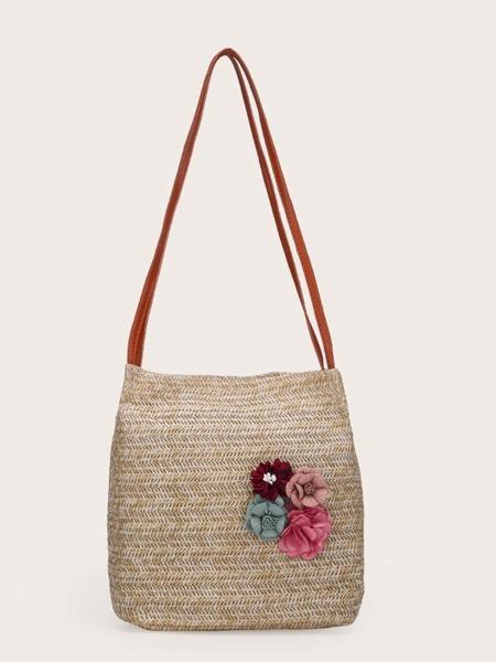 Floral Decor Straw Bag