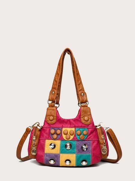 Rhinestone Decor Colorblock Shoulder Bag