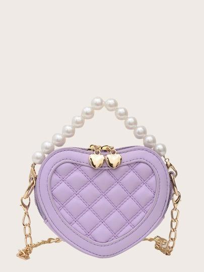 Faux Pearl Handle Heart Satchel Bag