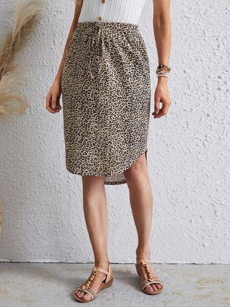 Tie Waist Curved Hem Leopard Skirt